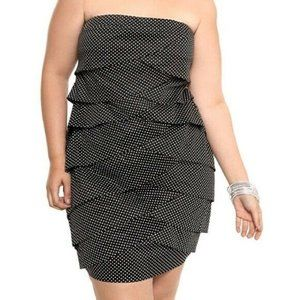 Torrid Black Polka Dot Strapless Ruffle Dress 22